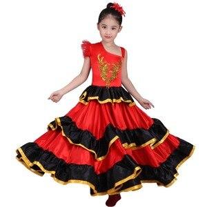 Image 1 - Crianças meninas vestido de dança do ventre vermelho espanhol flamenco traje de salão de baile vestido tribal com cabeça flor