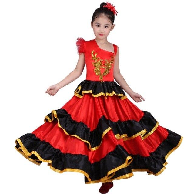 Crianças meninas vestido de dança do ventre vermelho espanhol flamenco traje de salão de baile vestido tribal com cabeça flor