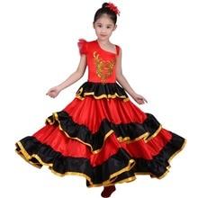 Ragazze dei capretti Rosso Vestito Danza Del Ventre Costume Da Ballo Flamenco Spagnolo Tribal Vestito Con La Testa Fiore