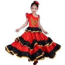 Vestido de danza del vientre rojo para niñas, traje de Flamenco español, vestido Tribal de salón con flor de cabeza