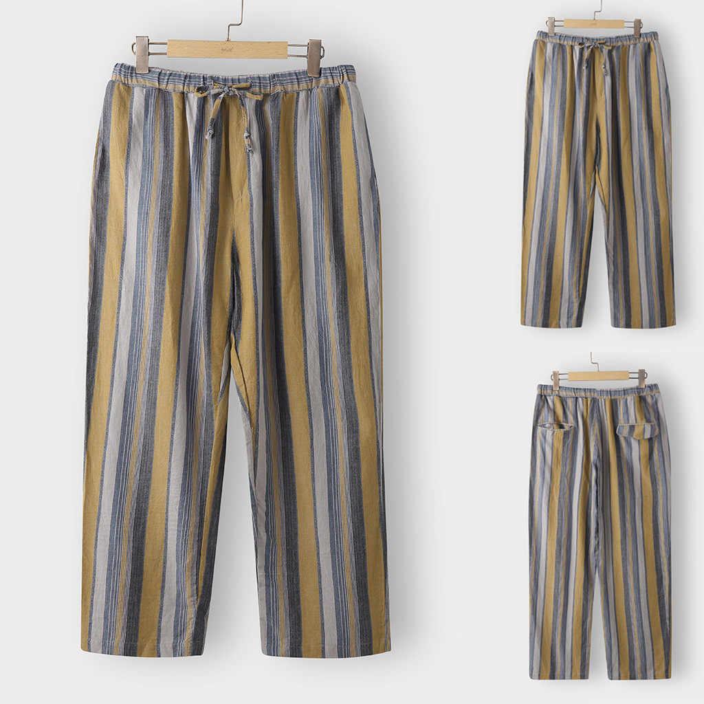 Mode mannen Casual Lange Broek Plus Size Buiten Gestreepte Print Broek Mannen Wijde Pijpen Cargo Lange Broek Vestido Femmie
