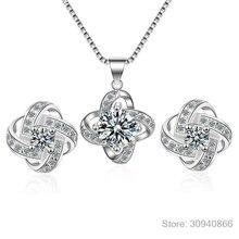 Новинка, ювелирный набор для невесты, 925 пробы, серебряный, длинный, массивный, клевер, колье, ожерелья, циркониевые серьги для женщин, подарок