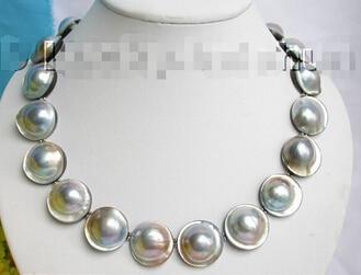 22 MM 100% naturel gris mer du sud NABE collier de perles j5046 belle femmes bijoux de mariage joli!