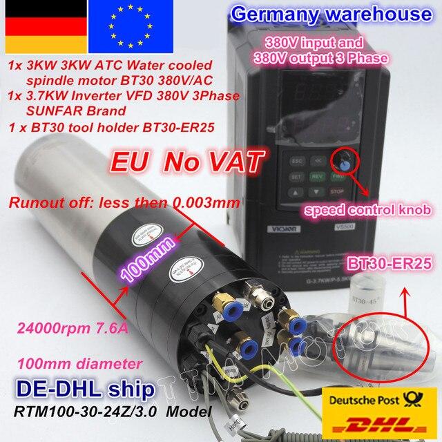 DE free VAT 3KW Automatic Tool Change Water Cooled Spindle motor BT30 & 3.7KW VFD Inverter 220V / 380V FOR CNC Router MILLING