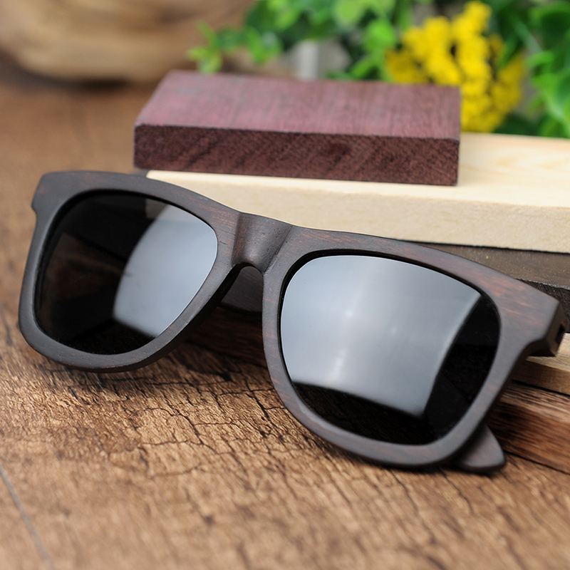 ab0ced3a37 BOBO BIRD Retro Ebony Wooden Sunglasses With Grey Polarized Lens And  Fashion Design Laser On Wooden