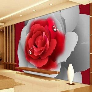 Custom 3D Photo Wallpaper 3D Stereoscopic Romantic Red Rose Flower Wall Painting Mural Living Room Bedroom Wallpaper Home Decor(China)