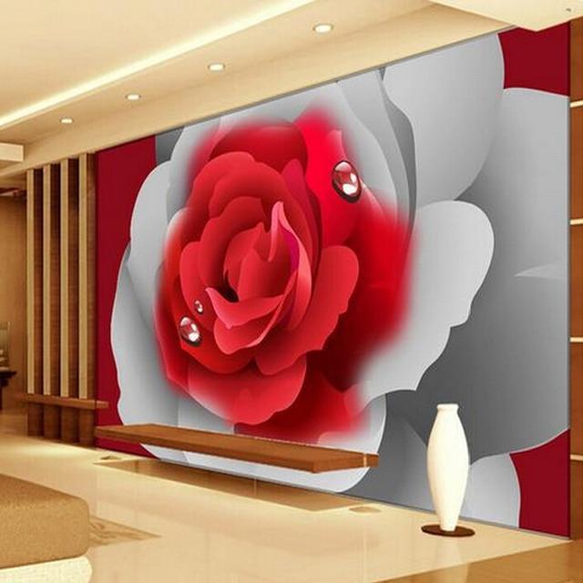 Custom 3d Photo Wallpaper 3d Stereoscopic Romantic Red Rose Flower