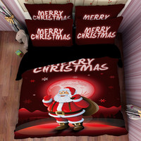 Christmas Bedding Set For Kids 3D Printed Home Duvet Cover Size King Full Queen Cotton Bedlinen