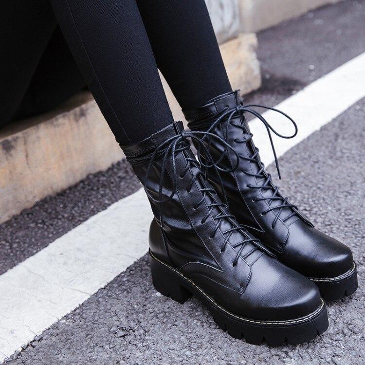 Tobillo Zapatos 2018 A Negro Para Invierno Mujer De Cuero Plataforma Encaje Mujeres {zorssar} Genuino Las Botas Alto Tacón Nuevos Motocicleta n0ZqZUxRw
