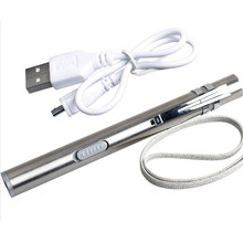 Portable USB Rechargeable LED Flashlight Stainless steel Mini LED Torch Waterproof Design Pen Hanging With Metal Clip Sliver