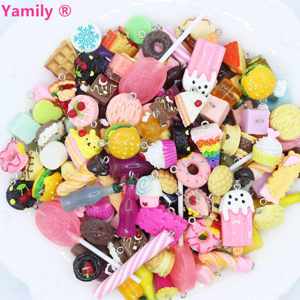 Yamily 10pcs/ Resin simulation food mixed Kawaii Food Charm pendant for DIY decoration neckalce earring key chain Jewelry Making