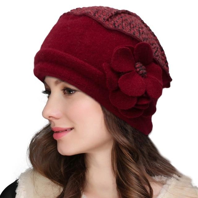 82a4e4d58cb74 Lawliet Elegant Women Beret Wool Cap Flowers Solid Beanie Female Winter Cap  Ladies Warm Crochet Church