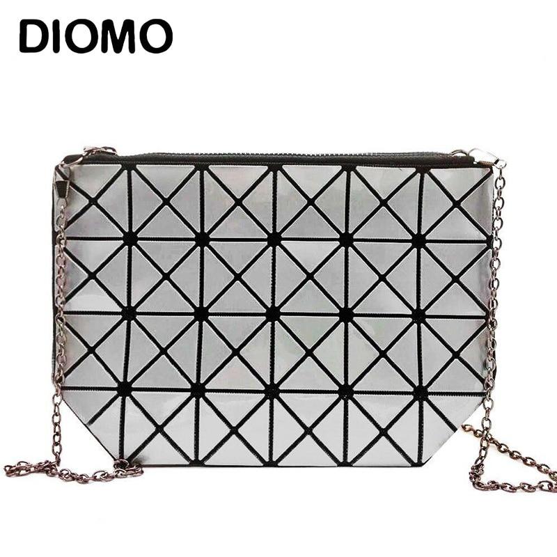 DIOMO Clutches Women Geometric Clutch Bag Women Messenger Bag Patchwork Laser Clutch Purse Bag Female Fashion Make Up Bags