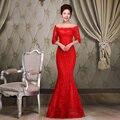 Vestido de noche largo 2015 vestido de novia de fiesta cordón de la sirena vestido largo más el tamaño de encargo Formal