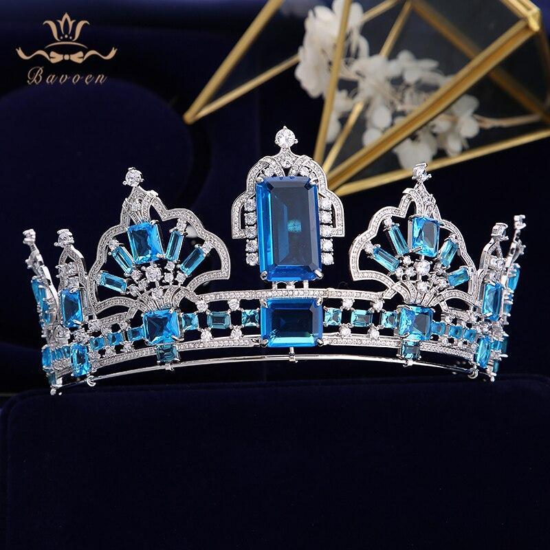 Sparkling Blue Tiara Kronen Zirkoon voor Bruiden Europese Zilveren Bruiloft Haarbanden Bruids Haar Accessoires Huwelijksgeschenken-in Haarsieraden van Sieraden & accessoires op  Groep 1