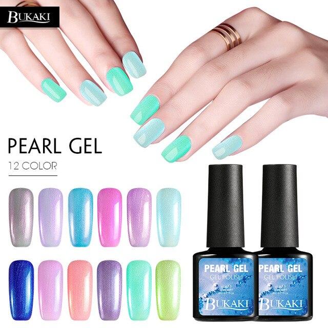Bukaki 1pcs Colorful Soak Off Shiny Sea Shell Led Uv Gel Nail Polish Pearl Varnish