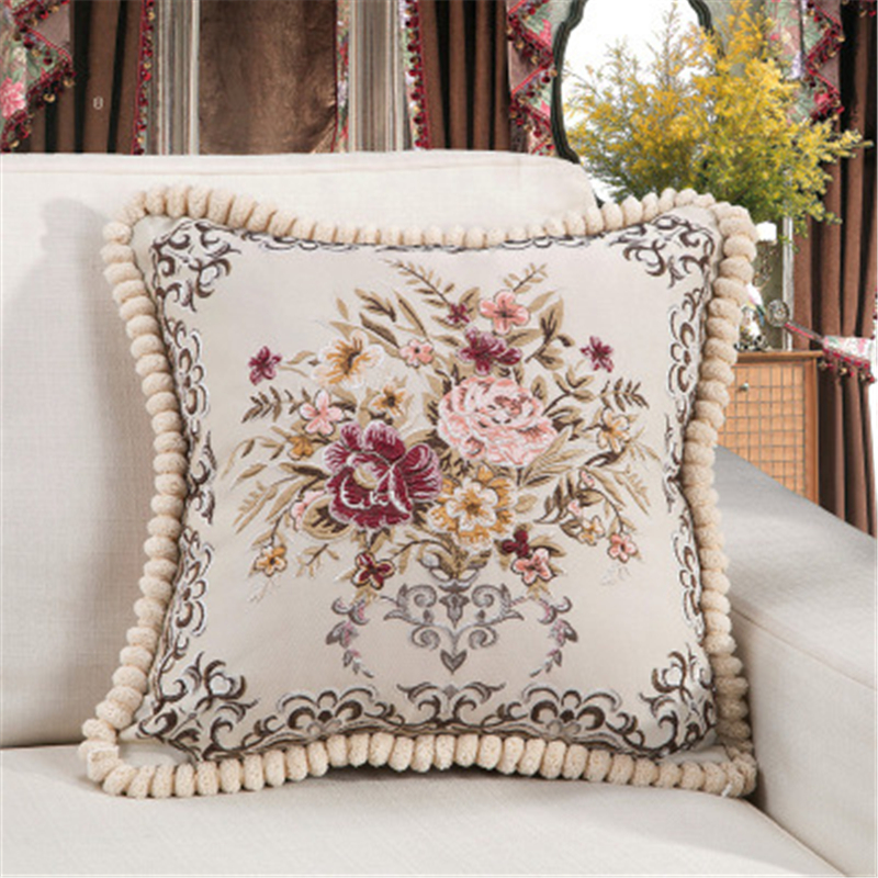 European Luxury Cushion Cover Floral Embroidered <font><b>Pillow</b></font> <font><b>Case</b></font> Home Decor Cushions For Sofa Living Room <font><b>50*50cm</b></font> Throw <font><b>Pillow</b></font> Cover image