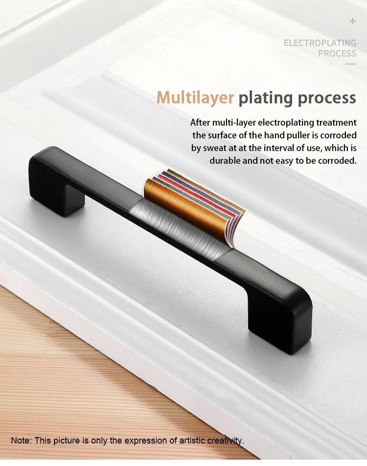 NAIERDI черные ручки шкафа американский стиль твердый алюминиевый сплав кухонный шкаф ручки для выдвижных ящиков оборудование для обработки мебели