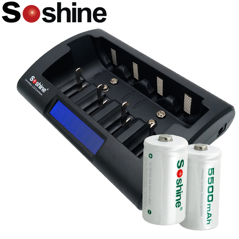 2 pièces Haute Capacité Soshine C/R14 Taille Piles Rechargeables NiMH 5500mAh Batterie + chargeur