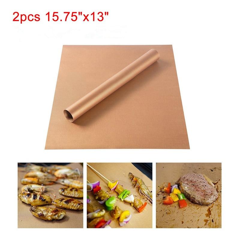 WOFO 2Pcs Set Golden Nonstick Chef BBQ Grill Bake Mat Barbecue Roast Sheet Outdoor BBQ Tools