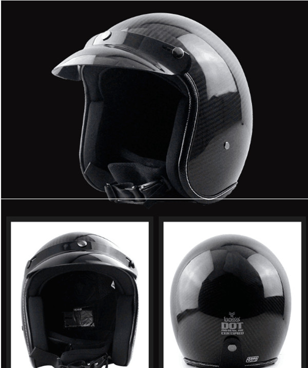 German Pure Carbon Fiber half face motorcycle helmet DOT approved light weight open