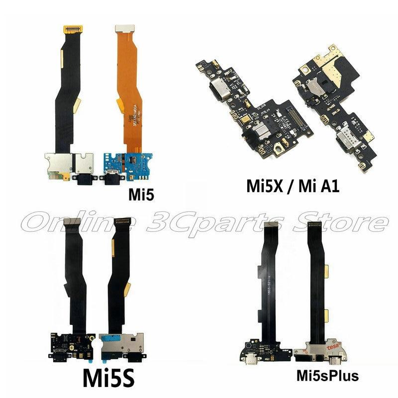 New Microphone Module+USB Charging Port Board Flex Cable Connector Parts For Xiaomi Mi5 Mi5C Mi5s Mi5sPlus Mi5X Mi A1 Replacemet