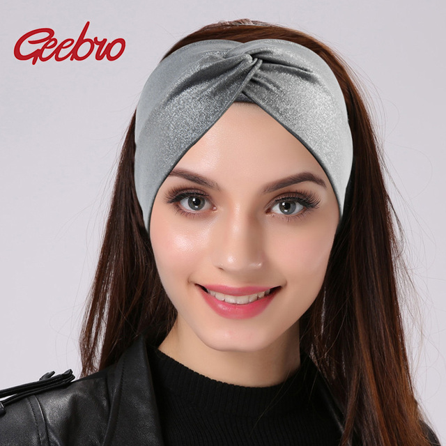 Diademas anchas con puntos plateados Geebro para mujeres verano moda Cruz  anudada turbante tejida diadema para c7eac29a4b93