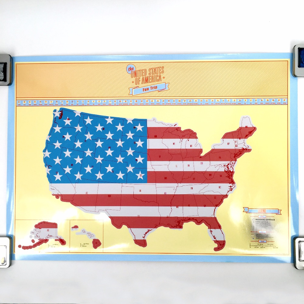 New arrival USA Scratch Map Of American Country Map Packed in Card ...