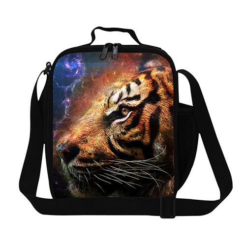 New animal tiger lunch bag for men work,zoo animal lunch cooler bag for kids boys small insulated lunch container for children