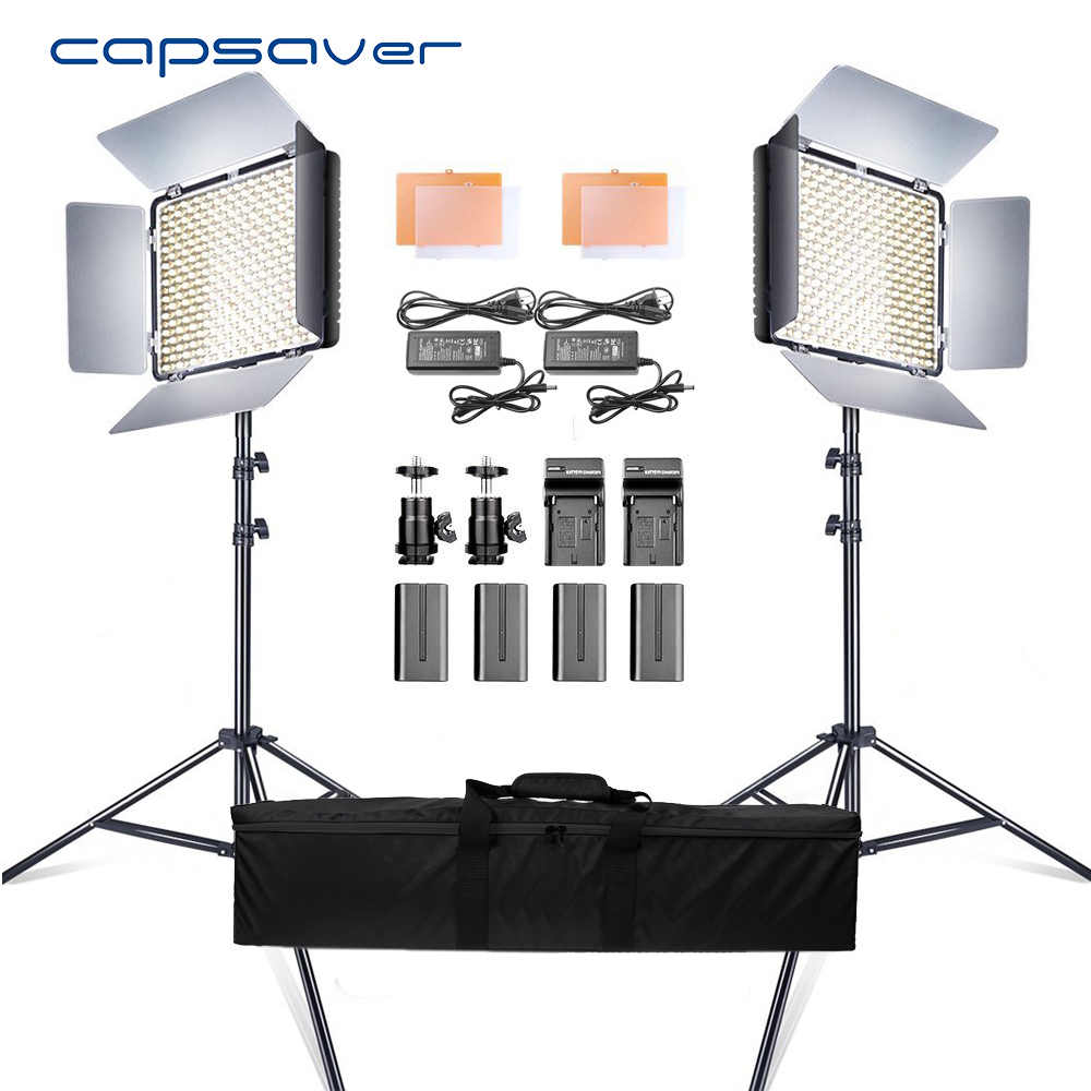 capsaver 2 in 1 Kit LED Video Light Studio Photo LED Panel Photographic Lighting with Tripod Bag Battery 600 LED 5500K CRI 95