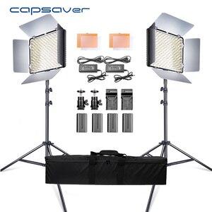 Image 1 - Capsaver 2 en 1 Kit LED lumière vidéo Studio Photo LED panneau éclairage photographique avec trépied sac batterie 600 LED 5500K CRI 95