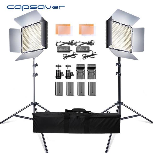 Capsaver 2 en 1 Kit LED lumière vidéo Studio Photo LED panneau éclairage photographique avec trépied sac batterie 600 LED 5500K CRI 95