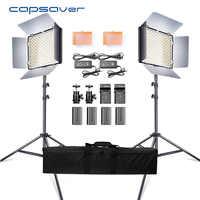 Capsaver 2 en 1 Kit de vídeo de luz LED, foto Panel LED de iluminación fotográfica con la bolsa de trípode de la batería 600 5500 K CRI 95