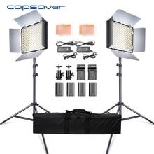 Capsaver 2 in 1 Kit LED 비디오 라이트 스튜디오 사진 LED 패널 사진 조명 삼각대 가방 배터리 600 LED 5500K CRI 95