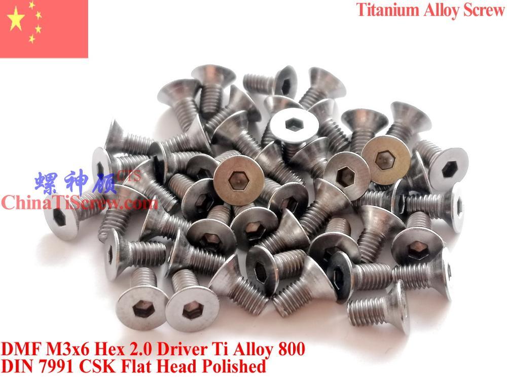 Titanium Alloy Screw M3x6 M3x8 M3x10 M3x12 M3x14 M3x16 For Mini Drones DIN 7991 Flat Head Hex 2.0 Driver Polished 12 Pcs