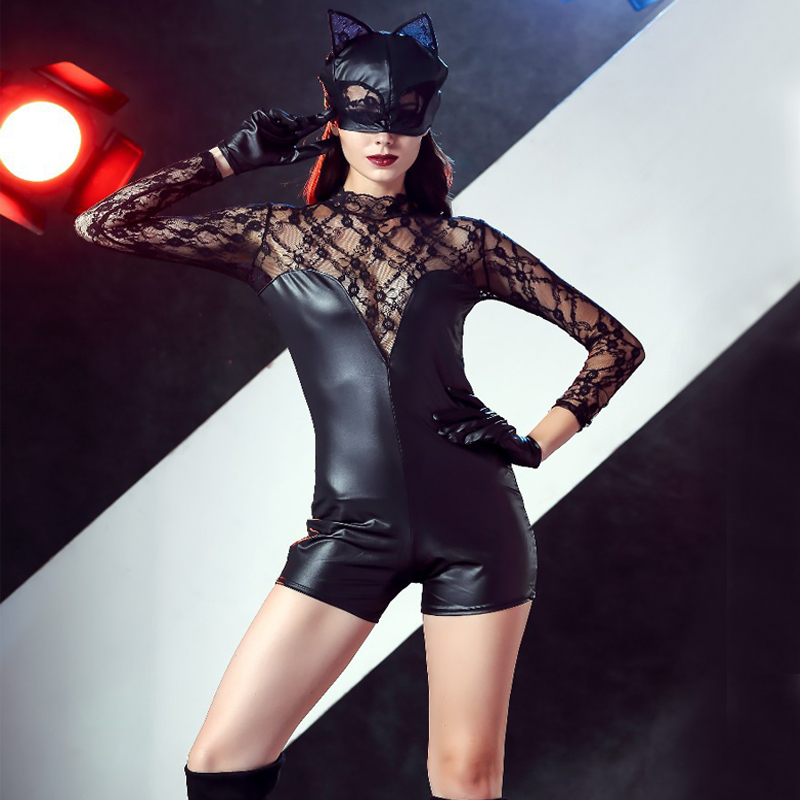 Free shipping Sexy tube dance girl performance costume lace imitation leather nightclub lacquer skin pants cat girl Cosplay in Movie TV costumes from Novelty Special Use