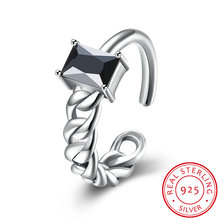 Vintage Jewelry 925 Sterling Silver Finger Rings for Women Black Rhinestone Stone Twist Adjustable Statement Ring