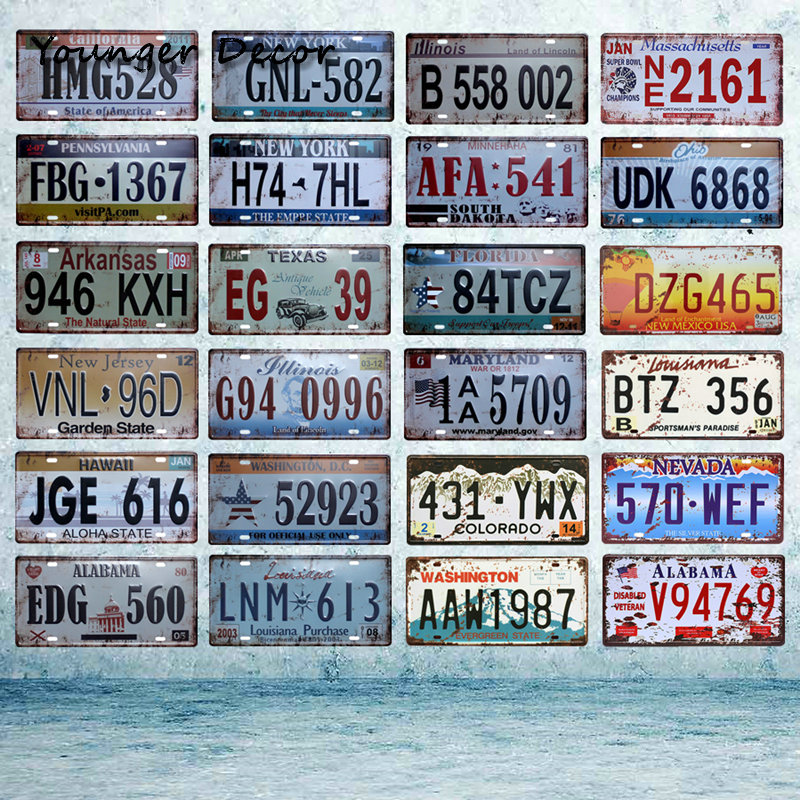The United States of America Car Number License Plate Metal Plaque Bar Club Cafe Garage Home Wall Art Decor Tin Signs YA008
