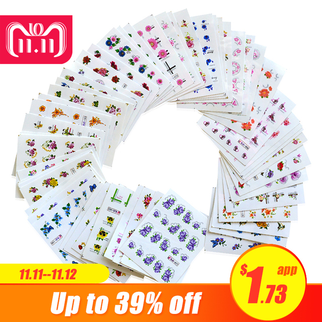 55sheets Glitter Bling Nail Stickers Nail Art Flower Water Transfer Decals Beauty Foil Wraps Manicure Decor Accessories