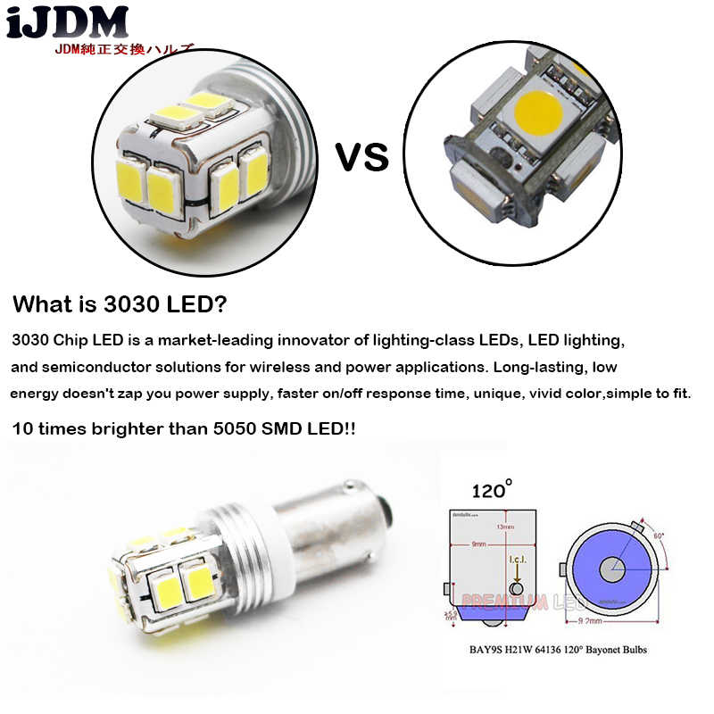 IJDM Can バスエラーフリー BA9S BAX9S H21W BAY9s 用 Led 車のリバースライトまたはパーキングライト、ライセンスプレートライト、白、赤、黄色