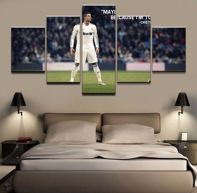 JIE DO ART Wall Art Home Decorative Living Room 5 Pieces Cristiano Ronaldo Poster HD Prints Football Sports Pictures Frame