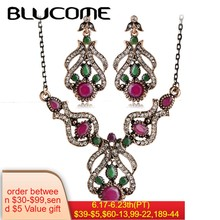 Blucome Vintage Jewelry Sets Antique Gold Color Plant Resin Crystal Pendant Necklace Earring Set Women Clothing Turkish jewelry(China)