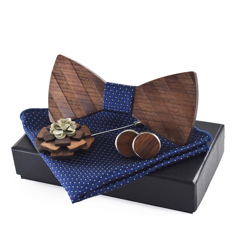 Fashion Mens Wood Bow Tie Handkerchief Cufflinks Brooch Set Wooden Bowtie Borboleta Pocket Square Set For Male Wedding
