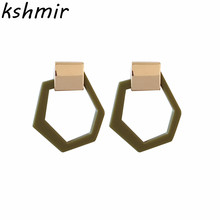kshmir Resin irregular shape multi eardrop Fashion retro temperament Earrings Women declare metal earrings jewelry wholesale