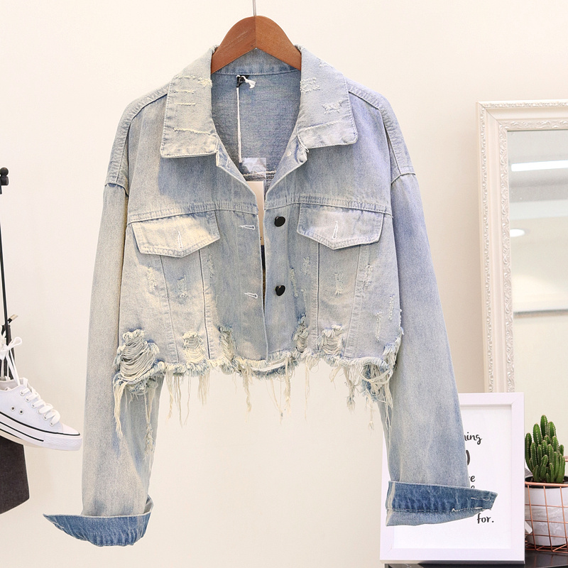2019 KKillero Women Cropped Jean Jacket Light Blue Bomber Short Denim Jackets Jaqueta Casual Ripped Jeans
