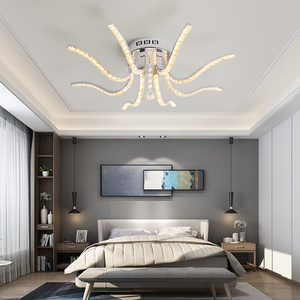 Image 2 - NEO Gleam Chrome Plated Finish Crystal RC Modern Led Ceiling Lights For Living Room Bedroom Sutdy Room Dimmable Ceiling Lamp