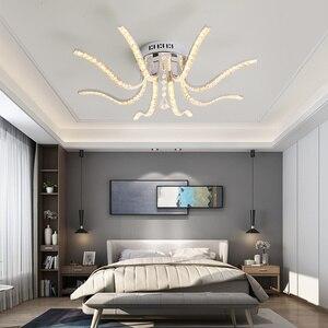 Image 2 - Neo brilho acabamento cromado cristal rc moderno led luzes de teto para sala estar quarto sutdy lâmpada do teto pode ser escurecido