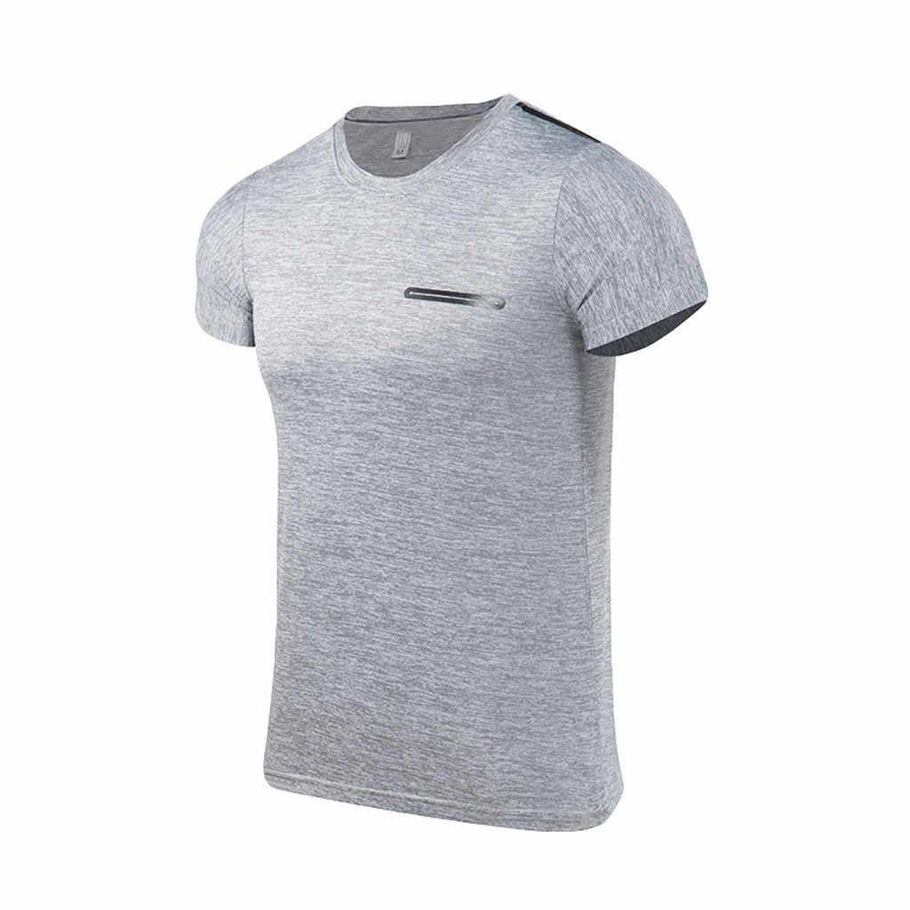 Sport herenkleding running fitness mannen Zomer Casual O-hals T-shirt Fitness Sport Snel Droog Ademend Top Blouse outdoor