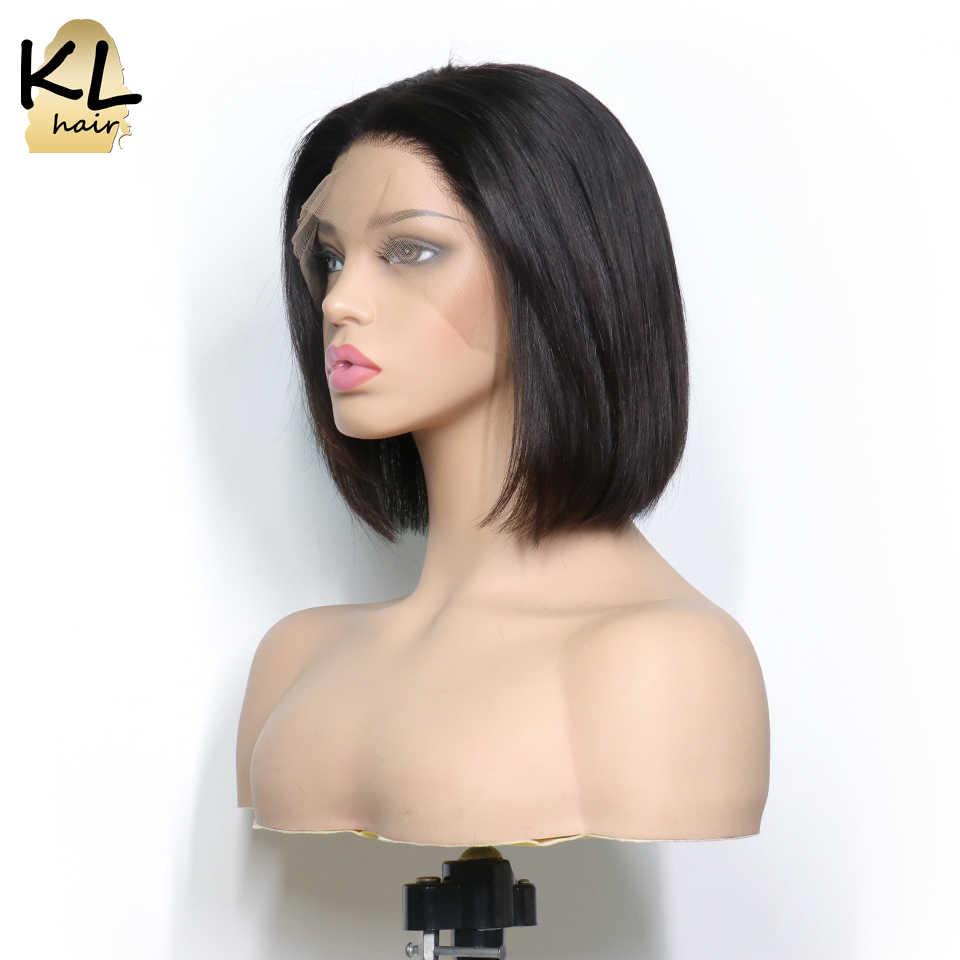 Короткие волосы боб фронтальные человеческие парики с волосами младенца предварительно сорвал бразильские волосы remy 13x4 прямые волосы парик для черных женщин KL