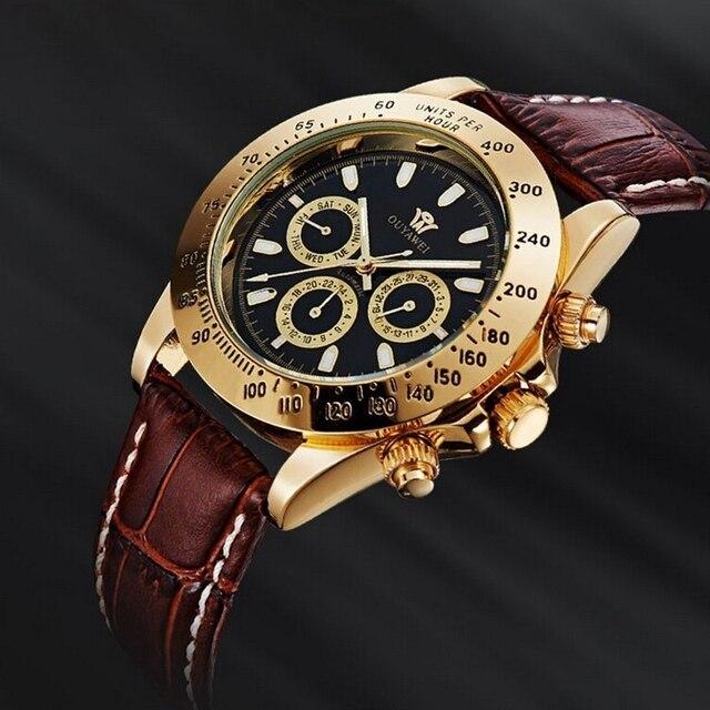 8803a68111f OUYAWEI Marca Mens Mecânica Auto Vento Relógio com Pulseira de Couro  Vestido De Luxo Masculino Ouro